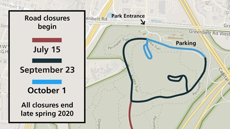 A map of the park road closures