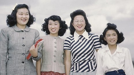 Image of Japanese women in a WWII internment camp. NPS photo