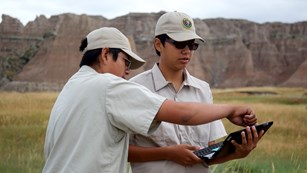 Two boys using a laptop to in a grassland near rock formations