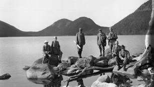 image of George B. Dorr and park advisors at jordan pond