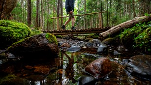 Person walking on a bridge over a creek