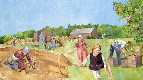 Illustration of early settlers on a farm