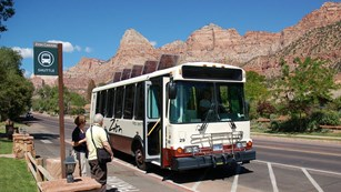Photo of a visitor shuttle bus at Zion National Park in Utah.