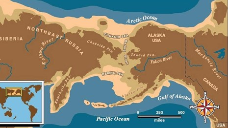 a map of beringia, the area of land that once connected Alaska and Russia