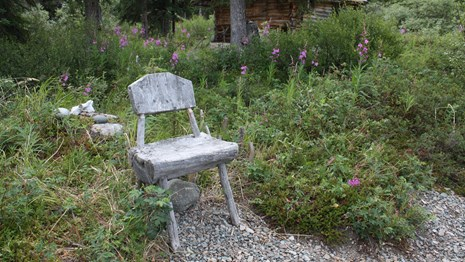A handmade wooden chair at the R. L. Proenneke National Register of Historic Places property