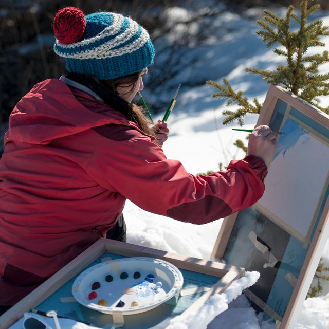 Woman uses small spruce to brace easel during an outdoor painting workshop in denali