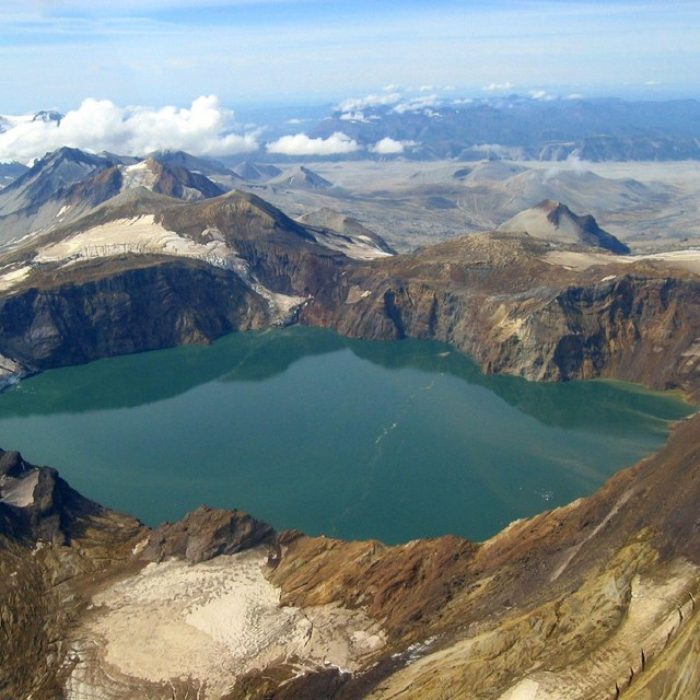 aerial image of a crater lake