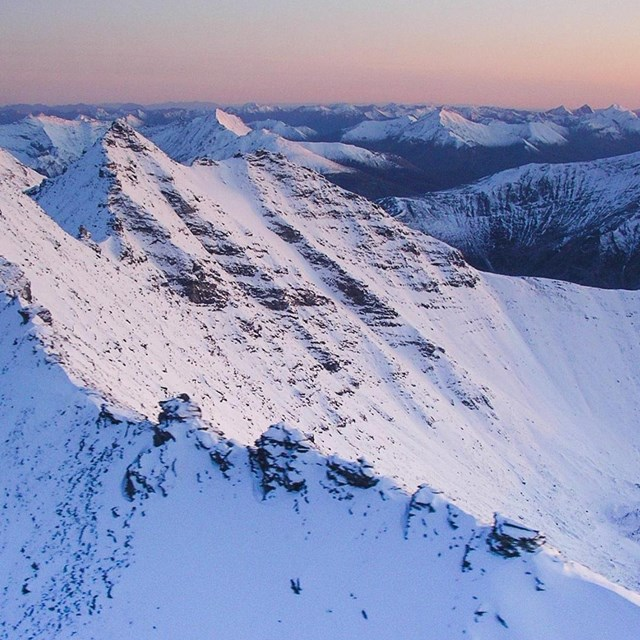 aerial view of a snow-covered mountain