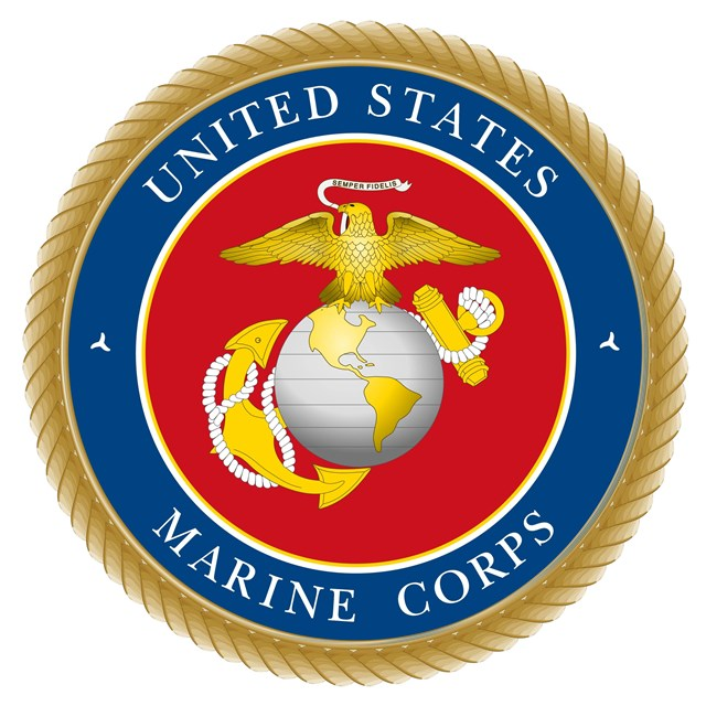 Logo with eagle and anchor around a globe. Text reads United States Marine Corps