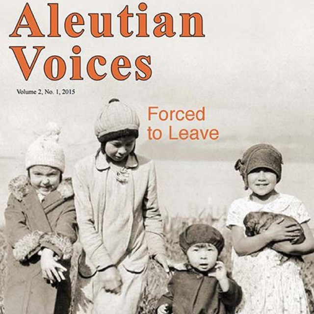 Sepia-toned cover with four children. Text: Aleutian Voices: Forced to Leave