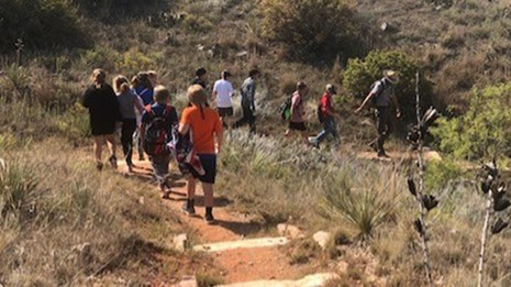Students follow a Park Ranger on the Quarries Trail.