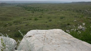 Petroglyphs can be found throughout Alibates Flint Quarries National Monument,