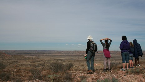 Visitors enjoy the view from the Quarries Trail