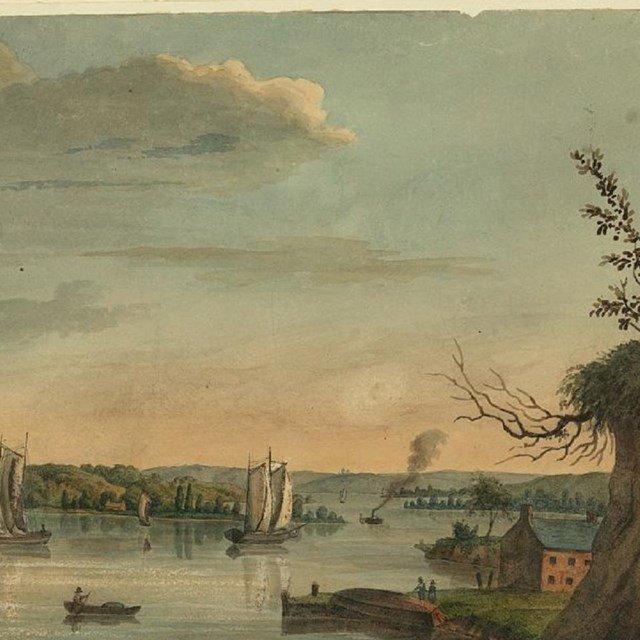 Watercolor of the Eastern Branch of the Potomac River