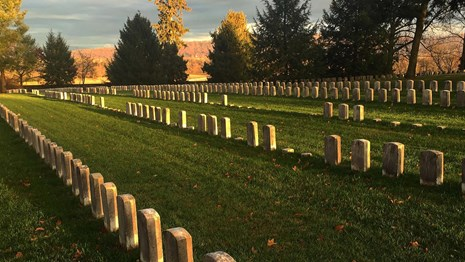 graves at sunset