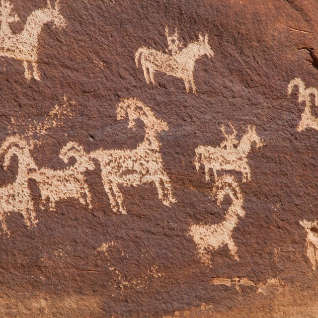 horseback riders and bighorn sheep marked on a wall