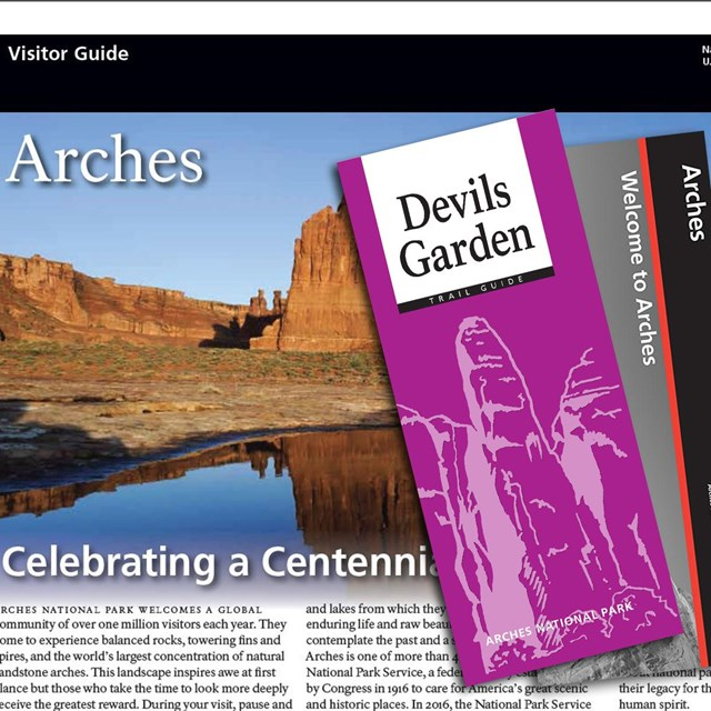 the park newspaper and a Devils Garden trail guide