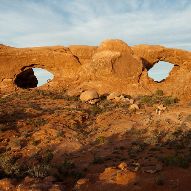 two broad stone arches