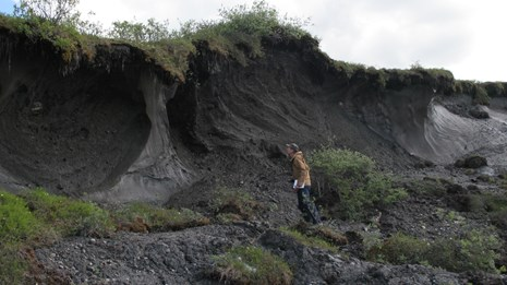 Landscape Ecologist inspects a permafrost thaw slump.