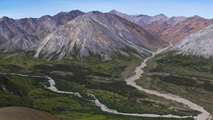 The colorful mountains of the Brooks Range in Noatak National Preserve.