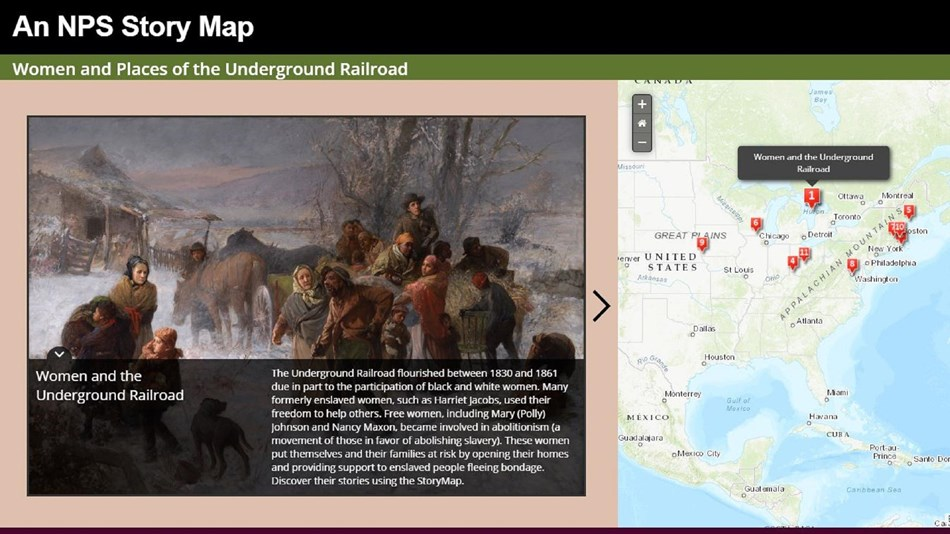 Image of a StoryMap with photo of African Americans fleeing slavery and Googlemap with pinpoints.