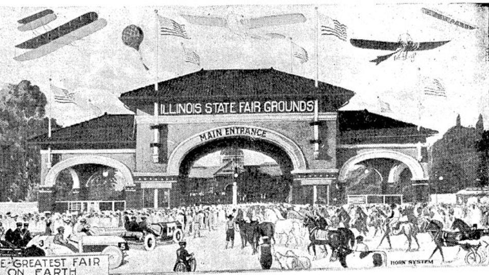 Black and white post card of fair in early 1900s. Public Domain.