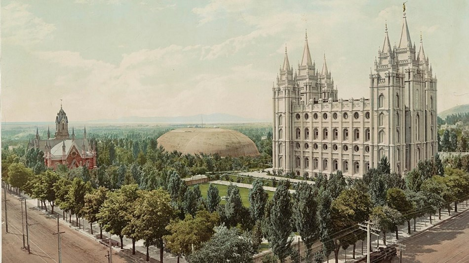 Painting of a lush green square with a large white building with spires. Library of Congress.