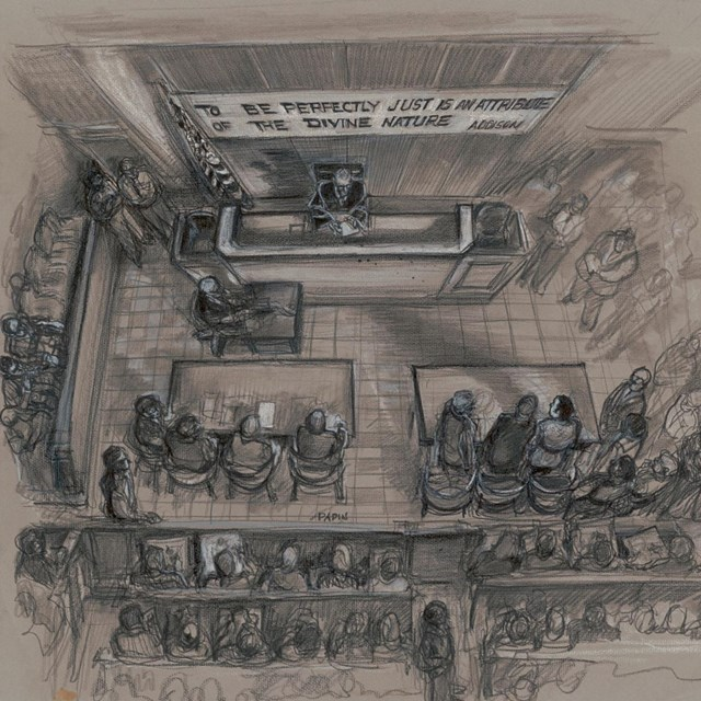 A drawing showing a birds-eye view of a courtroom