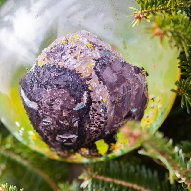 Painted bison ornament
