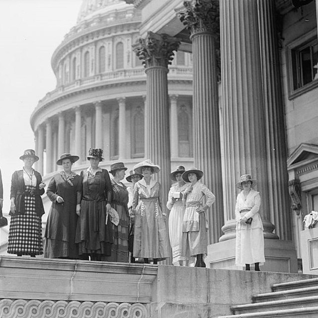 Women in front of Capitol building. Library of Congress.