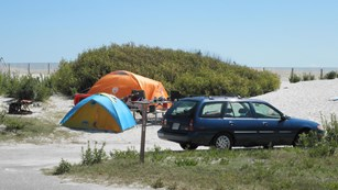 Tent camping in the oceanside campground