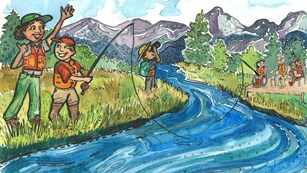 graphic of park ranger and Junior Rangers fishing and using binoculars by a river