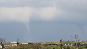 picture of water spouts over the ocean in the Virginia District of the seashore