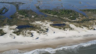 aerial view of Assateague Island from beach to bay