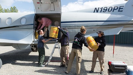 Four people help load an airplane with cargo