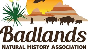 Colorful logo with badlands, bison, prairie dog, yucca, and eagle