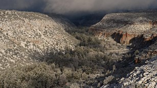 Snow in Frijoles Canyon