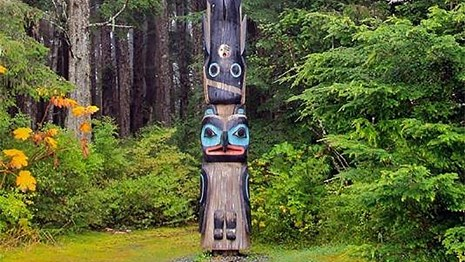 A totem pole in Sitka National Park