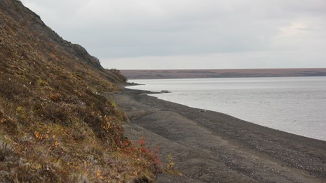 The devil mountain lakeshore has dark colored sand that comes to a steep hill covered in vegetation.