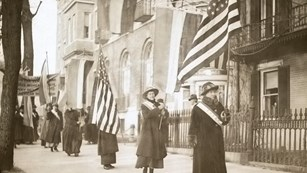 Procession of Women's Suffrage supporters marching to the White House