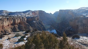 Snow covered view of Bighorn Canyon from the Sullivan Knob Trail