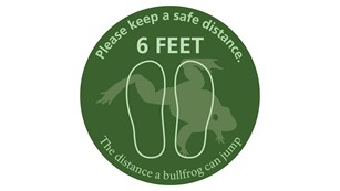 graphic of frog. text: please keep a safe distance. 6 feet. the distance a bullfrog can jump