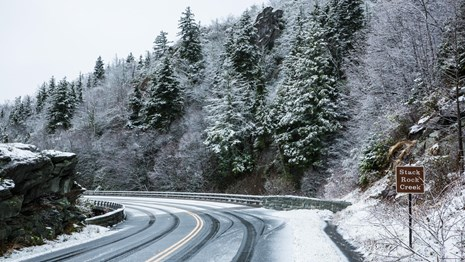 A snowy scene in the Parkway's High Country.