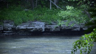 Rock shelf on the river