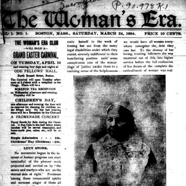 front page of The Woman's Era newspaper, which has an image of Lucy Stone.