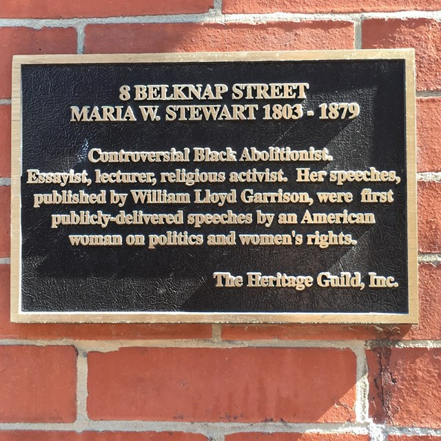 plaque on brick house with information about Maria Stewart
