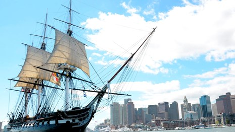 USS Constitution underway in Boston Harbor