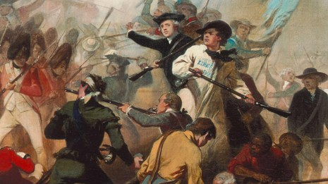 Painting of colonial and British soldiers engaged in hand to hand fighting at Bunker Hill