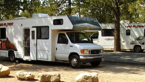 RV parked in forested campground