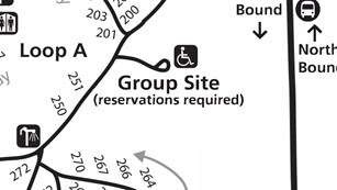 Map of Sunset Campground Group Site